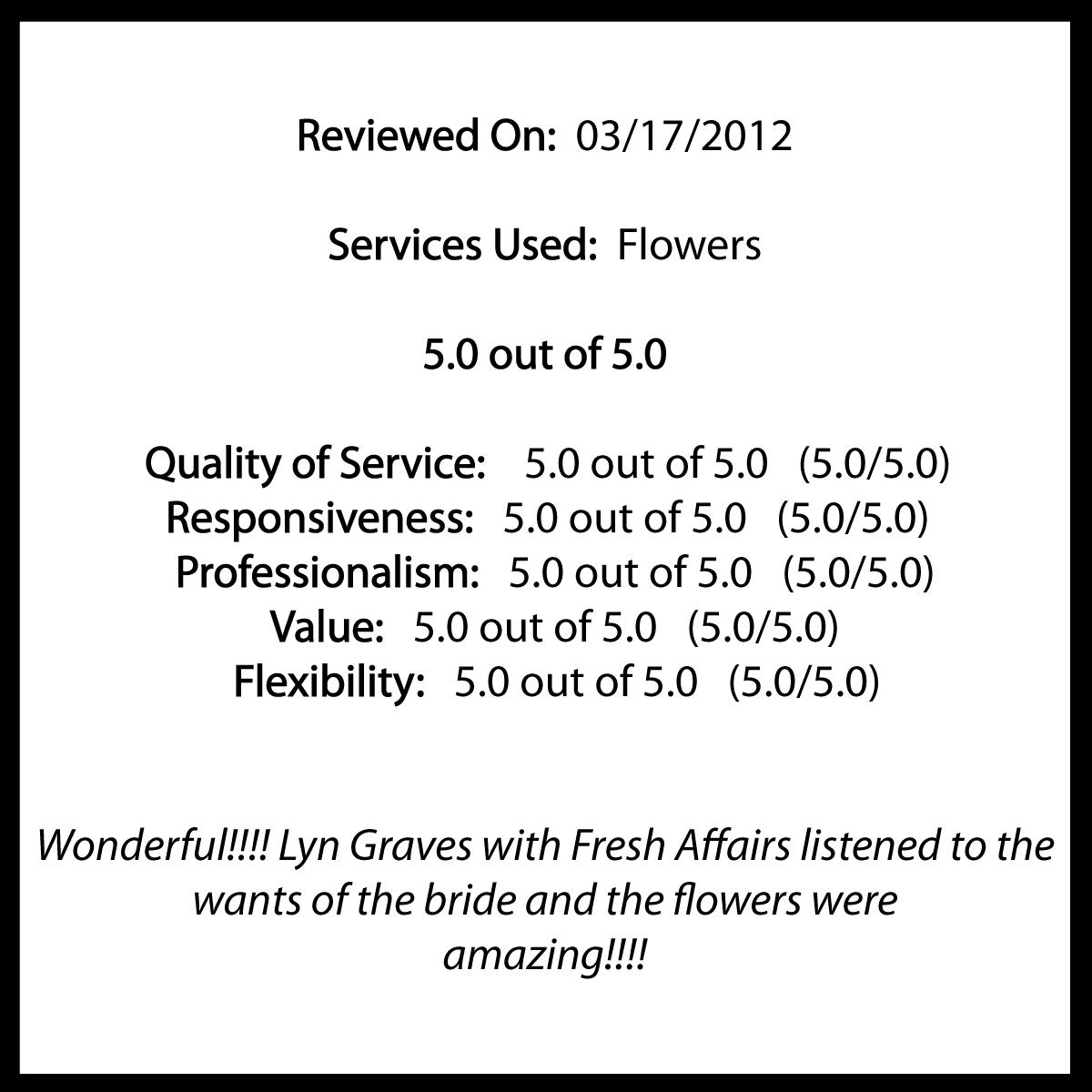 Fresh Affairs | WeddingWire Review